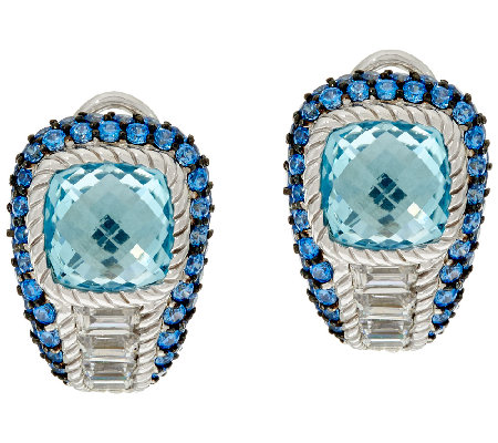 Judith Ripka Sterling Blue Topaz & Pave' Earrings