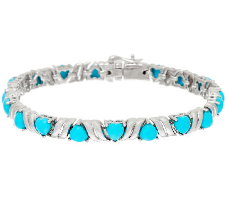 "Sleeping Beauty Turquoise Heart Cut 7-1/4"" Sterling Tennis Bracelet"