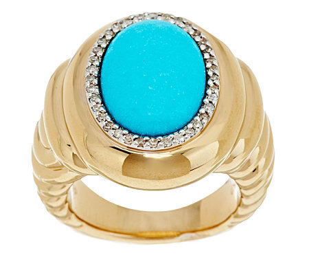 """As Is"" Oval Sleeping Beauty Turquoise & Diamond Ring 14K Gold"