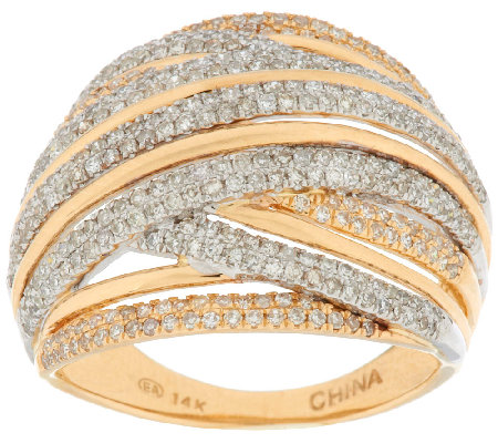 """As Is"" Micro- Pave' Two-Tone Diamond Ring, 14K, 1.00 ct tw by Affinity"