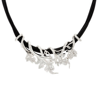 Sterling Silver Bold Vine on Multi-Strand Cord Necklace by Or Paz - J329331