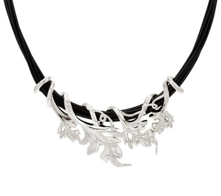 Sterling Silver Bold Vine on Multi-Strand Cord Necklace by Or Paz