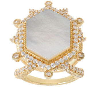 Judith Ripka 14K Clad Diamonique & Mother of Pearl Ring - J329631