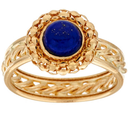 """As Is"" 14K Gold Woven Border Lapis Ring w/ Rope Inlay Band"