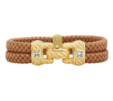 """As Is"" Judith Ripka 14K Gold Clad Braided Double Row Bracelet"