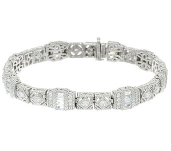 Judith Ripka Sterling or 14K Clad Estate Diamonique Tennis Bracelet - J330431