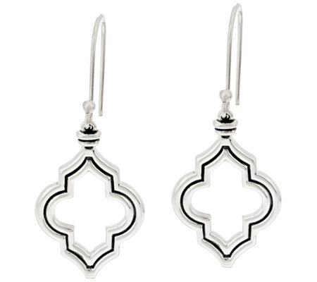 JAI Sterling Silver Taj Texture Dangle Earrings