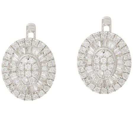 Graziela Gems Sterling Round & Baquette Diamond Earrings