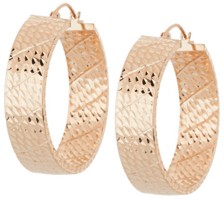 """As Is"" 14K Gold 1"" Bold Diamond Cut Round Hoop Earrings"