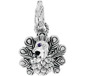 JAI Sterling Peacock w/ Gemstone Accent Charm Enhancer - J332831