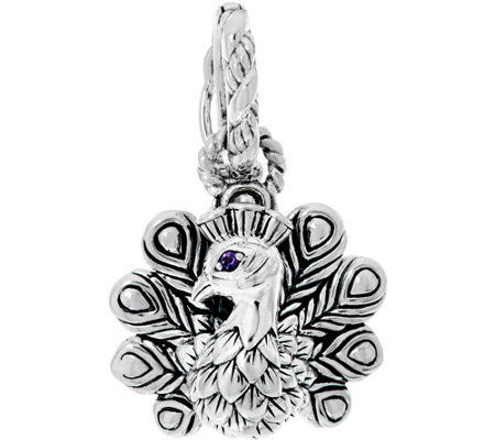 JAI Sterling Peacock w/ Gemstone Accent Charm Enhancer