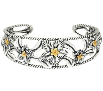 """As Is"" Carolyn Pollack Sterling/Brass Desert Rose Cuff Bracelet - J333131"