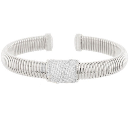 """As Is"" Judith Ripka Sterling 1.65 ct Pave Diamonique Cuff Bracelet"