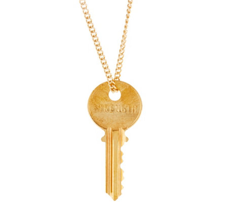 "The Giving Keys Goldtone 'STRENGTH' Key Pendant with 30"" Curb Chain"