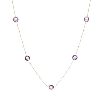 "14K Gold 20"" Faceted Gemstone Station Necklace - J334831"
