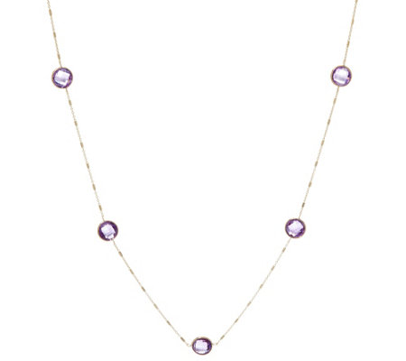"14K Gold 20"" Faceted Gemstone Station Necklace"