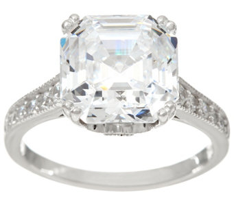 diamonique 600 cttw asscher cut ring sterling j334931 - Qvc Wedding Rings