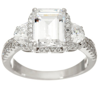 diamonique emerald cut bridal ring sterling j335231 - Fake Wedding Rings That Look Real