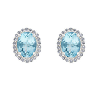 Premier 1.65ct Aquamarine & 1/5cttw Diamond Earrings, 14K - J336131