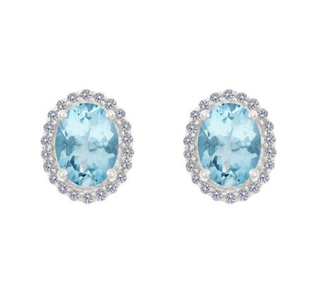 Premier 1.65ct Aquamarine & 1/5cttw Diamond Earrings, 14K