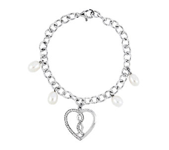 "Sentimental Expressions Sterling 7"" ""Hearts Joined"" Bracelet - J336331"