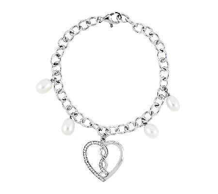 "Sentimental Expressions Sterling 7"" ""Hearts Joined"" Bracelet"