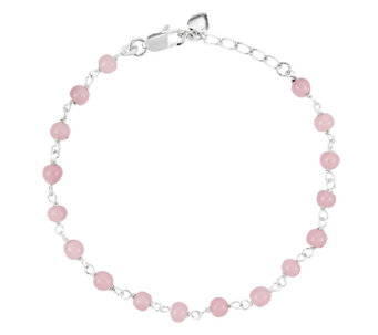 "Sterling 9"" Pink Bead Station Ankle Bracelet - J336431"
