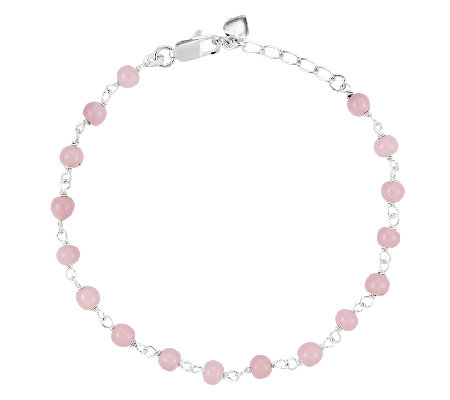 "Sterling 9"" Pink Bead Station Ankle Bracelet"