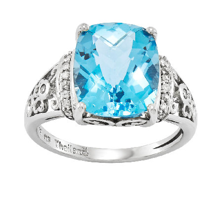 Sterling Choice of Rectangular Cushion-Cut Gemstone Ring