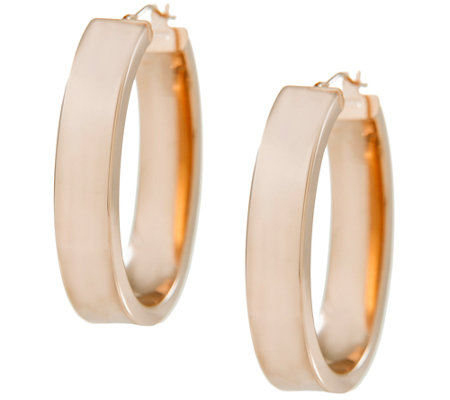 Arte d'Oro Polished Bold Oval Hoop Earrings, 18 K