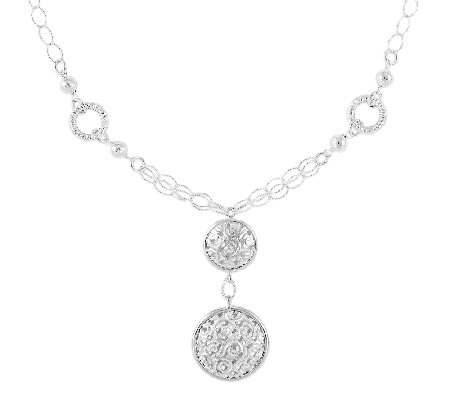Sterling Satin & Polished Fancy Drop Necklace,17""