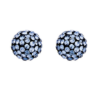 Stainless Steel Polished Blue Crystal Earrings - J337831