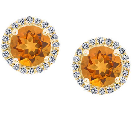 Premier 7mm Gemstone & Diamond Halo Stud, 14K Yellow Gold