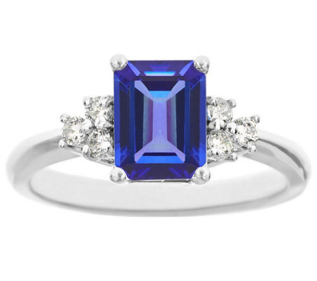 Premier Emerald-Cut 1.10cttw Tanzanite & Diamond Ring, 14K