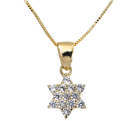 Adi Paz Crystal Star of David Pendant w/ Chain,14K Gold
