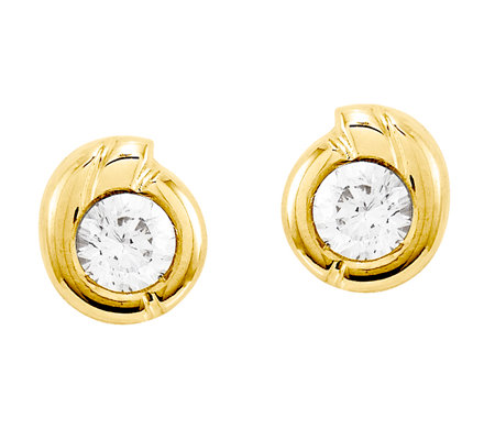 Round Crystal Swirl Post Earrings, 14K Gold