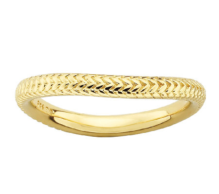 Simply Stacks Sterling & 18K Gold Plated Herringbone Ring