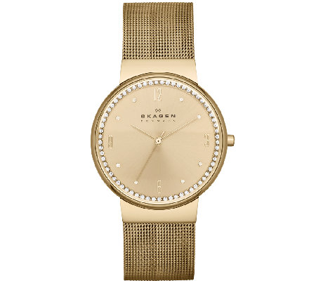 Skagen Women's Goldtone Crystal-Accented Watch