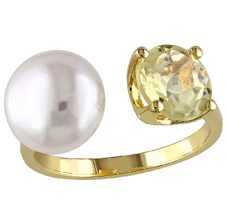 Gemstone & Cultured Pearl Cuff Ring, Sterling/14K Plated