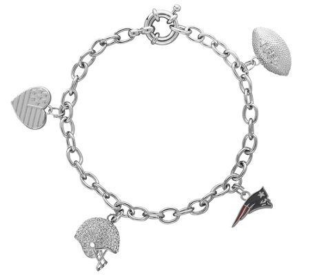 "NFL 7-1/2"" Polished Multi-Dangle Charm Bracelet"