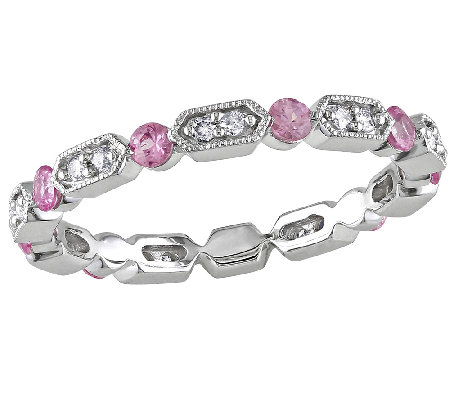 Pink Sapphire & Diamond Eternity Band Ring, 14KWhite Gold