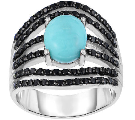 Sterling Turquoise & Black Spinel Ring