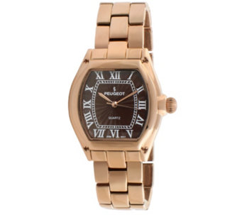 Peugeot Women's Rosetone Brown Dial Bracelet Watch - J341931