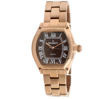 Peugeot Women's Rosetone Brown Dial Bracelet Watch