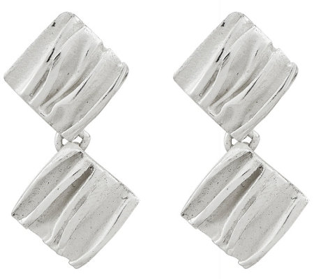 Sterling Silver Scrunch Dangle Earrings b y Silver Style