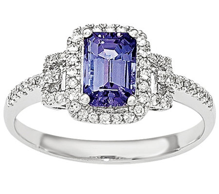 1.20 ct Tanzanite and 1/5 cttw Diamond Ring 1 4K White Gold