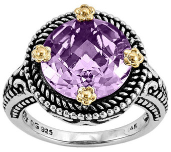 Sterling and 14K Gold 5.00 ct Round Amethyst Ring - J342331