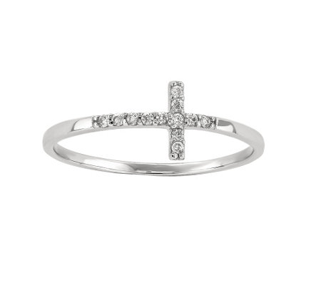Sterling Sideways Crystal Cross Ring