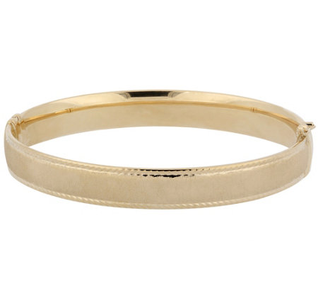 Arte d'Oro Small Satin & Diamond Cut Bangle, 15K 9.40g