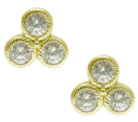 Judith Ripka Sterling/14K Yellow Clad Diamonique Stud Earring